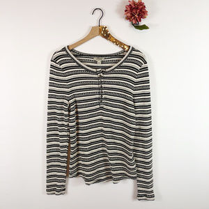 [LUCKY BRAND] Long Sleeve 1/2 Button Knit Top